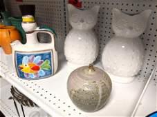 Shelf lot Pottery owls and fish bottle DESIMONE potter