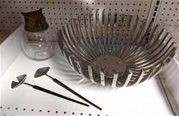 Shelf lot Owl and metal Danish style bowl