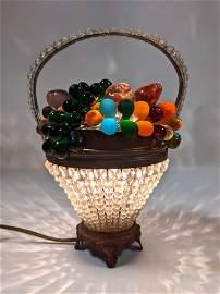 Vintage Fruit Basket Table Lamp.  Czech Glass