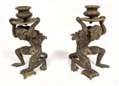 Pair Bronze Flying Monkey Candle Holders.  Figural Cand