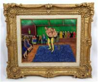 CAMILLE BOMBOIS Oil Panting on canvas. The Wrestlers. S