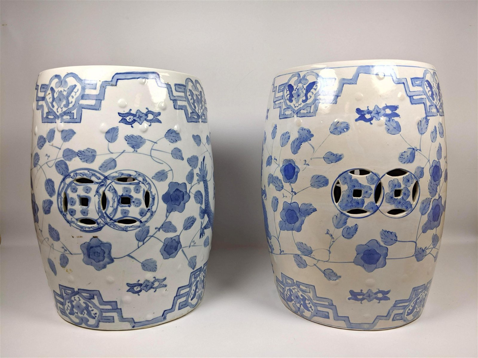 Pair Blue and White Chinese Porcelain Garden Pedestal S