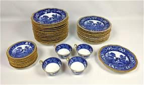 40+pcs COPELAND SPODES TOWER England Gold rim Dishes, 4