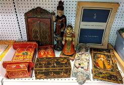 Lacquer decorated boxes and figures