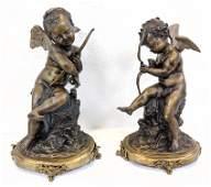Pr French Bronze Cherub Cupid Figural Sculptures. Decor