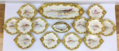 15pc French LIMOGES Porcelain Fish Set Marked CM Hand