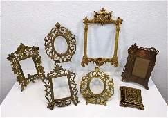 7pc Lot of Vintage Picture Frames. Ornate cast metal. O
