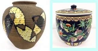 2pc Pottery Lot Signed Asian 1 Modernist Pottery Vas