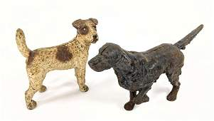 2pc Vintage Cast Iron Figural Dog Door Stops. Pointer,