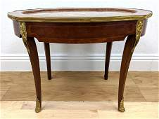 Inlaid French Side Lamp Table Marble Inset Top Bronze