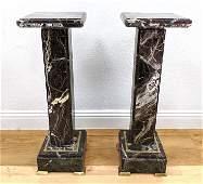 Pr Dark Veined Marble Pedestal Display Stands Brass tr