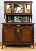 French Style Server Hutch Buffet. Glass doors china top