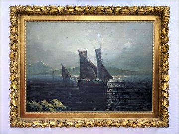 GUSTAVO MANCINELLI Oil Painting on Canvas. Sailboats .S