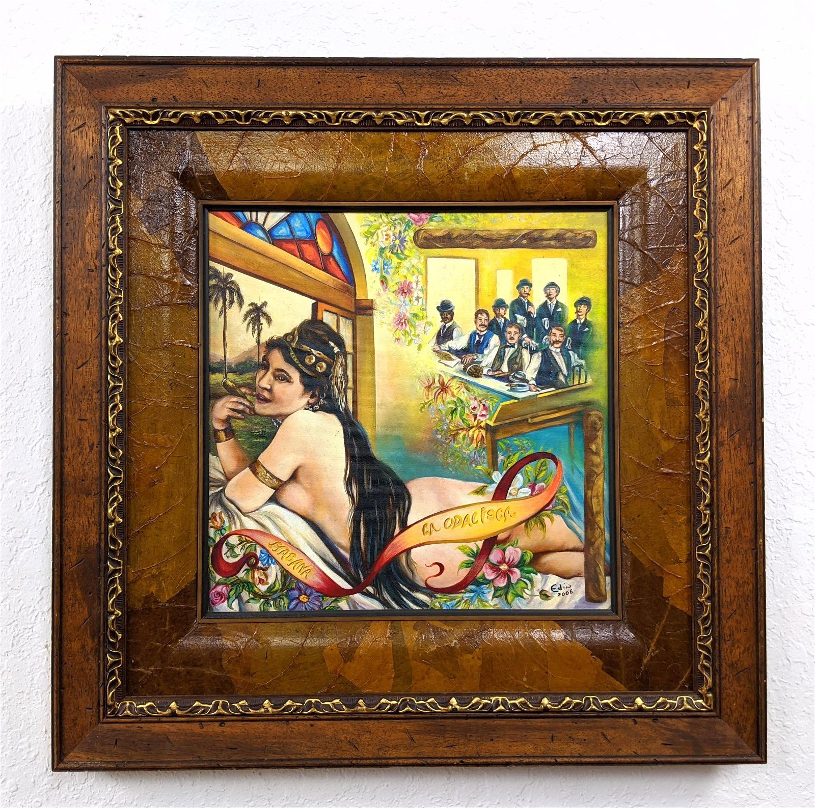 Edin signed Painting Cuban Showgirl with Cigar with men