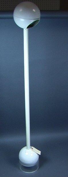 11: Barbell Floor Lamp. White Enameled Metal on Lucit