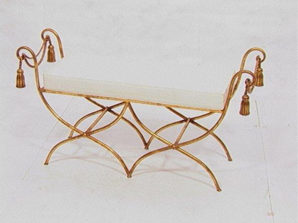 16: Decorator Gilt Metal Bench with Tassel Design.  D