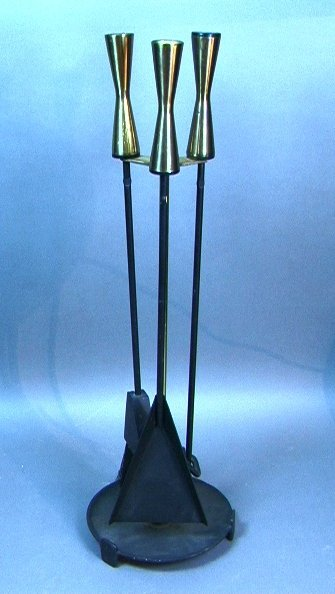17: Modernist Brass and Iron Fireplace Tools.