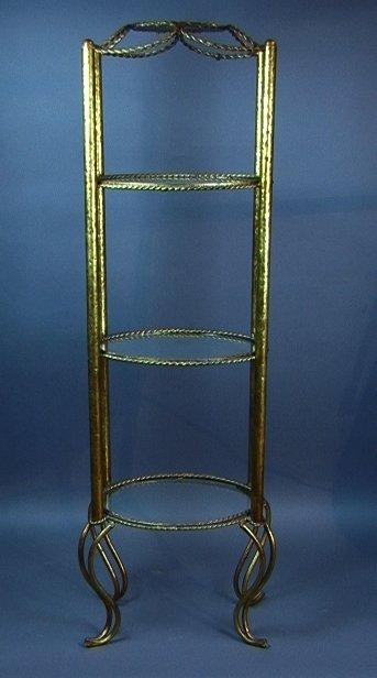 19: Italian Decorator Gilt Metal Display Stand.  Thre