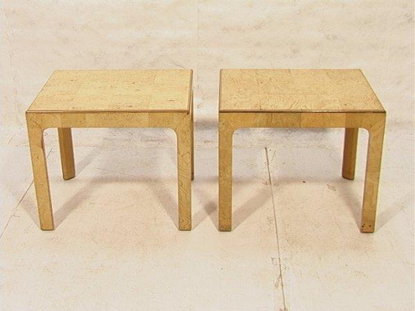 20: Pair HENREDON Burled Wood End Tables.  Clean desi