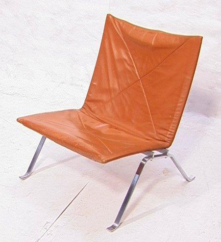 56: Poul Kjaerholm Leather Lounge Chair.  Armless des