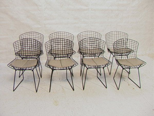 Set 8 Harry Bertoia Knoll Wire Side Chairs with G