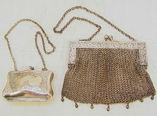 8: TWO GERMAN SILVER PURSES MESH & COIN, mesh purse wit