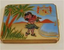 21: ALOHA HAWAII COMPACT, stencil painted hula dancer w
