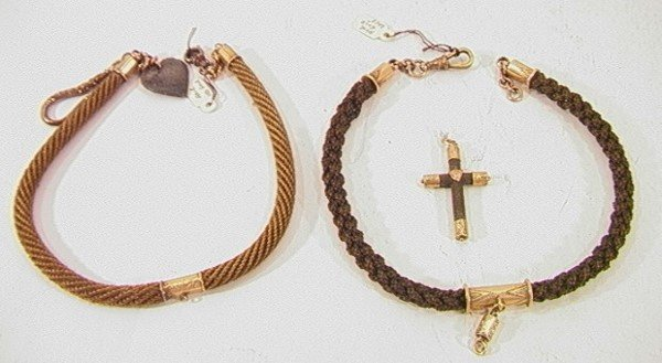 100: 3 PC LOT VICTORIAN MOURNING HAIR JEWELRY CROSS WAT