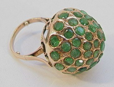 153: 14K YELLOW GOLD EMERALD COCKTAIL RING.  Large dome