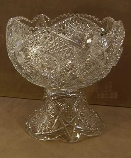 370 Cut Glass Punch Bowl And Base Cut Leaded Crystal