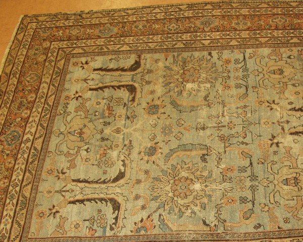 479: Antique oriental carpet 7'4x8'3 turquoise and brow
