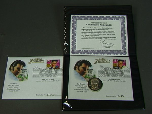 6: 2 ELVIS FIRST DAY COVERS. One with Sterling Silve