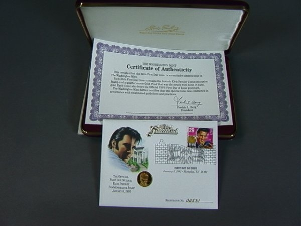 7: Elvis First Day Cover with 14K Gold Coin.  1/4 oz