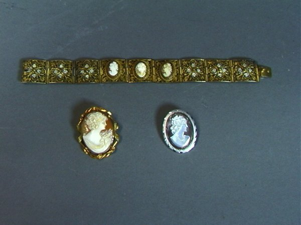 17: 3 PC CAMEO lot Silver filigree Bracelet.  Silver