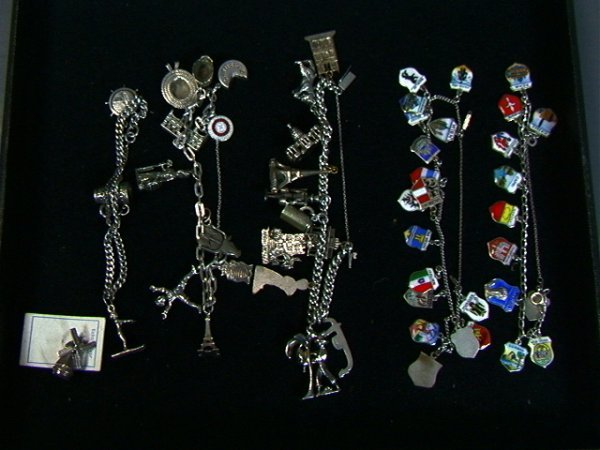 18: 5 PS Sterling and 800 silver Charm Bracelets. Two