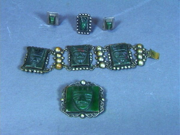 19: Mexican STERLING TAXCO Carved Green Stone Set: Pi