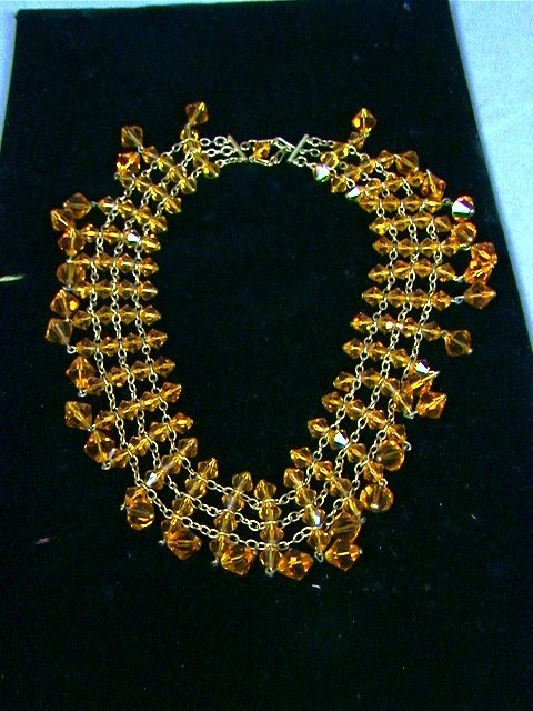 22: Glass Bead Necklace Collar. Faceted Gold Crystal