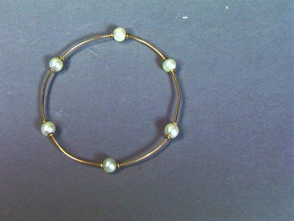 23: 14K GOLD Pearl Ladies Bangle Bracelet. Thick gold