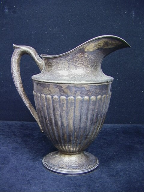 105: Large DUNKIRK 202 Sterling PITCHER. Ribbed Body.