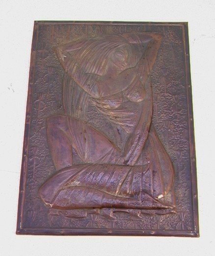 601: ART DECO HAMMERED COPPER PLAQUE. Well detailed 3D