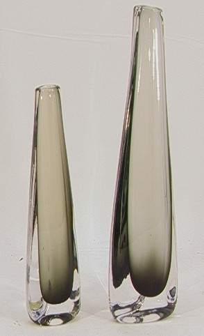 2 PC ORREFORS CASED GLASS VASES. Both signed. Sho