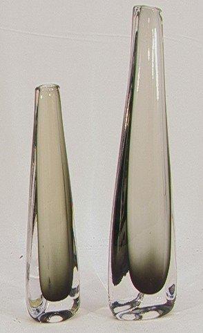 602: 2 PC ORREFORS CASED GLASS VASES. Both signed.  Sho