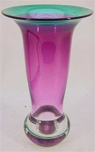 DKL STUDIOS ART GLASS VASE TALL PURPLE. Cased purp