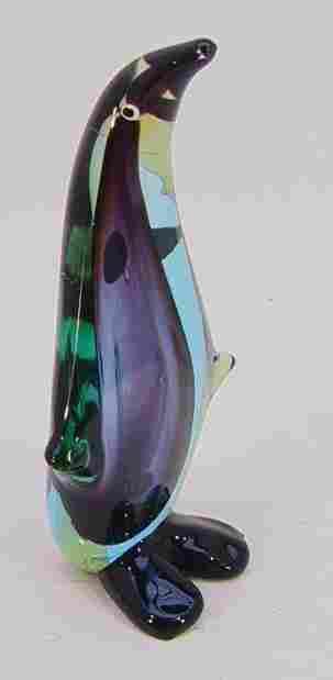 VENETIAN CASED ART GLASS PENGUIN. Blue, purple & g