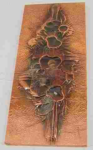 ARTIST SIGNED COPPER ON WOOD PLAQUE. Relief design
