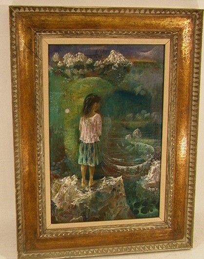 DON LORD OIL ON PANEL PAINTING GIRL ON LAKE. Signe