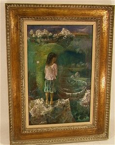641: DON LORD OIL ON PANEL PAINTING GIRL ON LAKE. Signe