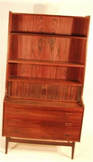 DANISH ROSEWOOD TAMBOUR DOOR BOOKCASE DESK. Bookca