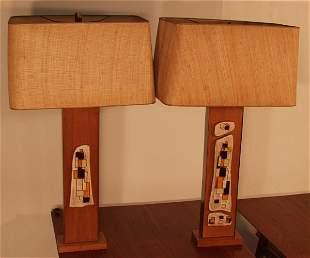 PR LIGHTOLIER HARRIS STRONG TILE TABLE LAMPS. Tall