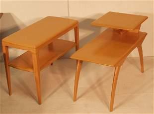 2 PCS HEYWOOD WAKEFIELD TABLE TABLES. One rectangu